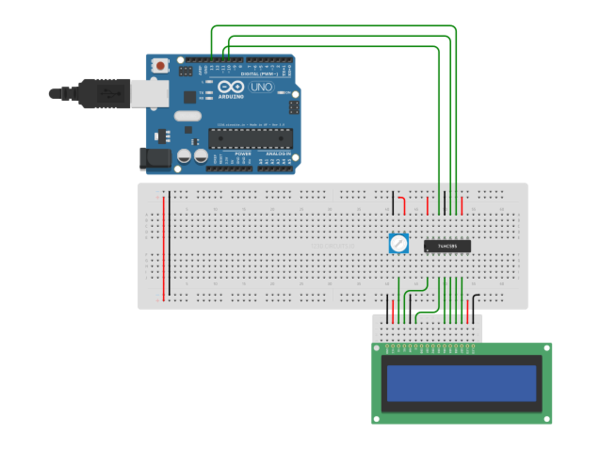 Arduino uno r with hc and lcd autodesk circuits